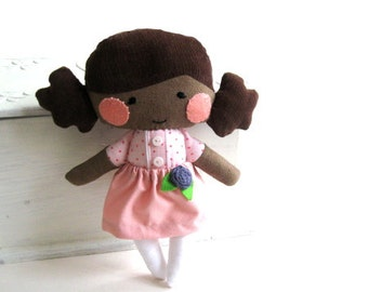 Rag doll with dark skin stuffed toy stuffed doll black skin brown skin plushie softie purple flower pink polka dotted 9.8 inch 25 cm