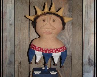 Primitive Folk Art Americana Liberty Lady Make do HAFAIR soft sculpture