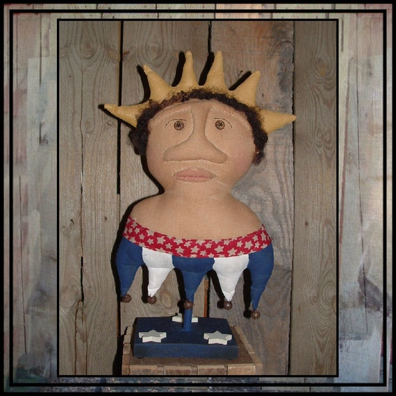 Primitive Folk Art Americana Liberty Lady Make do HAFAIR soft sculpture