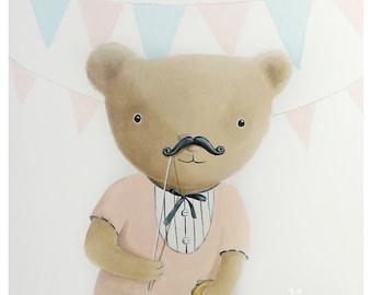 Teddy bear illustration - Print - Nursery art - Nursery decor - Kids room decor - Children's art - Children's wall art - kids wall art