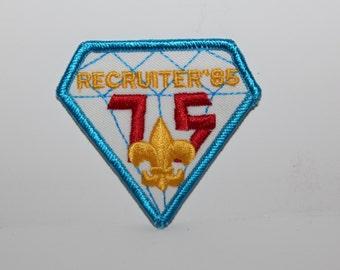 "1985 Recruiter '85 75th Anniversary Diamond - BSA (Boy Scouts of America) 3"" Patch"