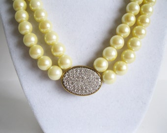Avon Faux Pearls Double Strand Necklace with Rhinestones Honor Society Vintage