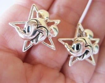 Napier Disney Mickey Mouse Earrings Vintage Silvertone Clip On