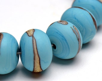 Frosted Lampwork Beads Turquoise Silvered Ivory Set of 17