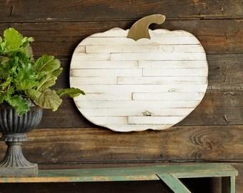 White Pallet Pumpkin Wall Decor Farmhouse Decor Thanksgiving Autumn White Pumpkin Rustic Sign