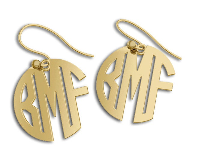 Monogram earrings Personalized Earrings 14K Gold, letter earrings initial earring, nameplate earring, gold earrings for women