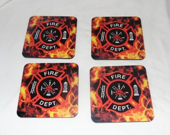 Set of Four Firefighter Coasters Size 3.35 X 3.75 Hard Surface Cork Back New