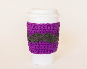 Purple Mustache Coffee Sleeve - Reusable Purple Mustache Coffee Sleeve