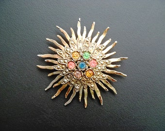 Vintage Little Nemo Sunburst Flower Brooch Pin Gold Tone Metal with Faceted Pink Amber Blue and Green Glass Stones Brier Mfg Co 1950s 1960s