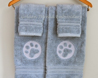Embossed Dog Paw on Turquoise Hand Towel (Wash Cloth Included)
