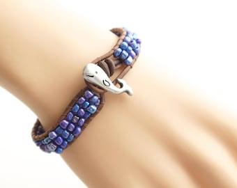 Whale Leather Bracelet Beach Bracelet Friendship Bracelet Beaded Bracelet Leather Wrap Bracelet Boho Mermaid Nautical Bracelet Gift for Her
