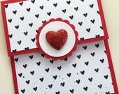 Valentine Gift Card Holder, Red and Black Glitter Heart Gift Card Holder, Terrys Cards