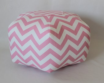 "18"" Pouf Ottoman Floor Pillow Baby Pink Zig Zag Chevron"