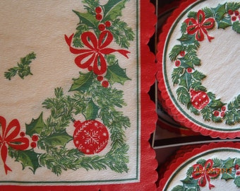 Box of Vintage Holiday Coasters and Napkins Set, Vintage Christmas Napkins