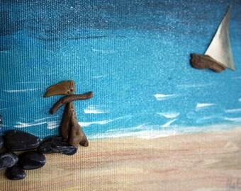 FAREWELL,pebbles art,collage art,mixed media,love,valentine gift,beach art,driftwood art,goodbye,sailing art,nautical art,