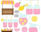 Pink Lemonade Stand Clipart Set - clip art set of pink lemonade, lemonade stand - personal use, small commercial use, instant download