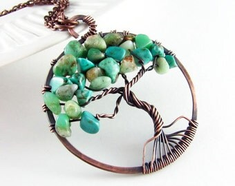 Tree Of Life Necklace Wire Wrapped Jewelry Turquoise And Copper With Chrysoprase Necklace Wire Wrapped Pendant Copper Necklace
