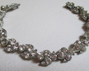 Vintage Detailed Silver Tone Rhinestone Bracelet