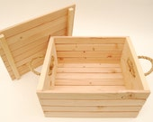 """Large Wood Gift Crate / Gift Box with Lid and Twine Handles - Handcrafted - Rustic - 14 1/2"""" W x 12 1/4"""" L x 7 1/2"""" T - Unfinished"""