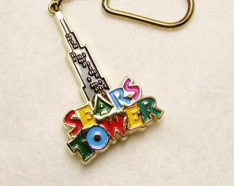 Sears Tower / Chicago Souvenir Key Ring - Vintage Swingy, Kitschy Collectible ~ Treasury Item