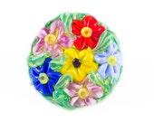 Large glass button with shank - colorful flowerbed