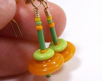 Spinning Top Earrings, 1 inch (2.5cm) Drops, Orange Green and Yellow Glass Bead Earrings, Disc Bead Dangles, Lampwork Jewelry, Mini Earrings