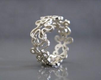 Flower ring, Silver filigree ring, Silver flower ring