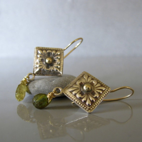 Medieval style earrings, Gold and silver dangle earrings, Green tourmaline earrings, Long dangle earrings
