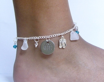 Love Peace and Flip flops anklet. Sea glass anklet. Charm anklet.