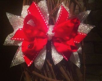 Red & Silver Small Boutique Bow