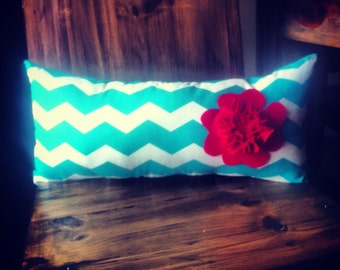 10x21.5 Turquoise & White Chevron Pillow With Red Felt Flower