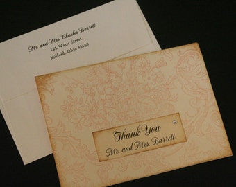 Wedding Thank You Cards, Vintage, Shabby Chic, Christian, Personalized, Floral, Hand-Stamped, Color Options, Elegant, Unique, Romantic