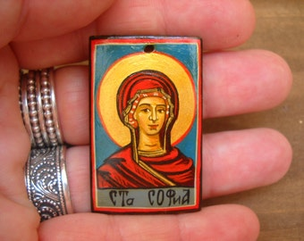 Custom personalized wooden icon pendant of Saint Sophia the Martyr, Hagia Sophia (Holy Wisdom), Feast Day September 17