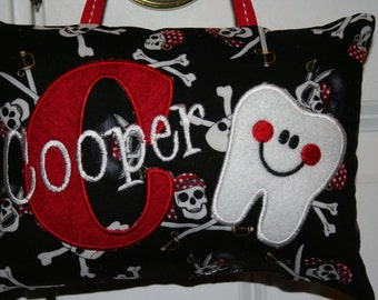 Tooth Fairy Pillow - Skulls - Pirates - Personalized - Personalized gift - birthday - Baby Gift