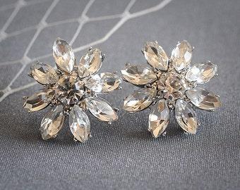 Crystal Bridal Earrings, Wedding Stud Earrings, Art Deco Flower Rhinestone Cluster Earrings, Old Hollywood Style Bridal Jewelry, ALLIE