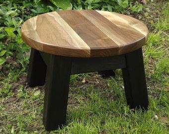 "modern/ reclaimed wood/ round stool/ step stool/ walnut sapwood top 14"" D x 9"" H"