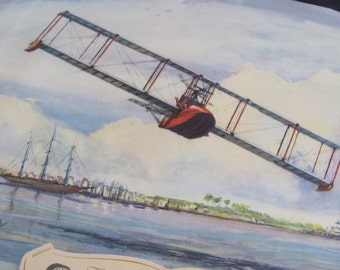 Vintage Early Century Airplane Poster Print - Charles Hubbell - The Benoist Flying Boat 1914