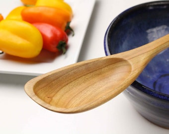 Medium handmade wooden roux spoon carved from Cherry wood