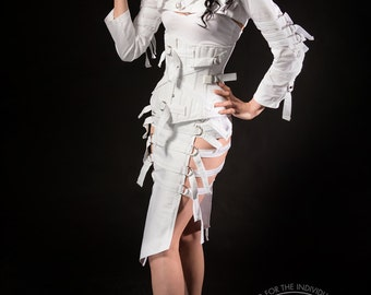 Lelash Asylum Ensemble, Bolero Jacket, Corset, Skirt / Straight Jacket