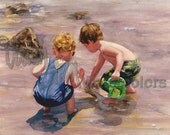 "Boys, Friends, Brothers Hunt Treasure, Beach Combers, Children Watercolor Painting Print, Wall Art, Home Decor, ""Water, Water, Everywhere"""