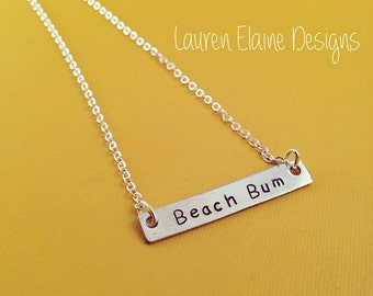 Custom Hand Stamped Aluminum Rectangle Bar Necklace- Add Your Own Phrase