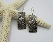 Sterling Silver Earrings, Silver Flower Earrings, Handmade Silver Earrings, Silver and Black Earrings, Silver Dangle Earrings