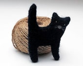 Hand felted brooch in black. Felt fashion. Little black cat, kitty. Animal. Fiber art. - EttarielArt