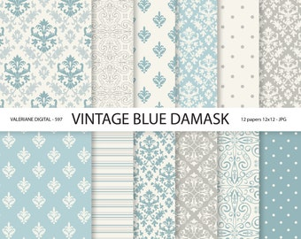 Vintage Blue Damask Paper, damask digital paper, wedding papers, scrapbook paper, scrapbooking - 597
