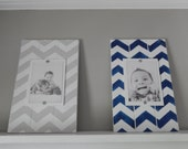 "Shabby Chic Distressed Chevron Plank Frame -  10"" x 14"" Holds a 5""x7"" photo - Custom sizes and colors welcome"