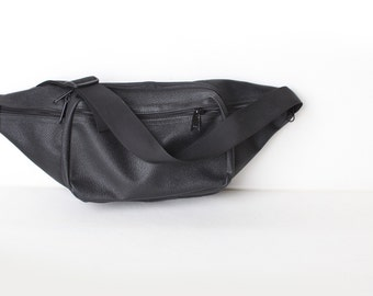 Large Black Faux Leather Fanny Pack, Waist Purse, Waistpack Holster
