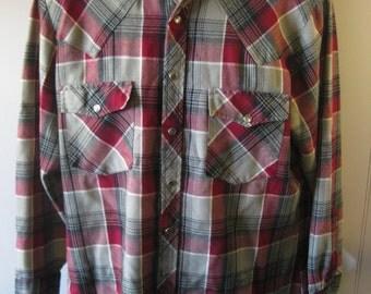 Vintage 60's FLANNEL Shirt SEARS ROEBUCKS Plaid -Men's Medium  f52