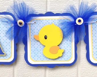 Duck baby shower banner, duck banner, rubber duck banner, it's a boy banner, blue and yellow, duck party decor, rubber duck decor,