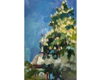 Oil Painting Landscape, Spring Landscape, Original Oil Painting. Chestnut blossom  over the dome of the church.