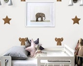 Stars and elephants - : Nursery Kids Removable Wall Vinyl Decal